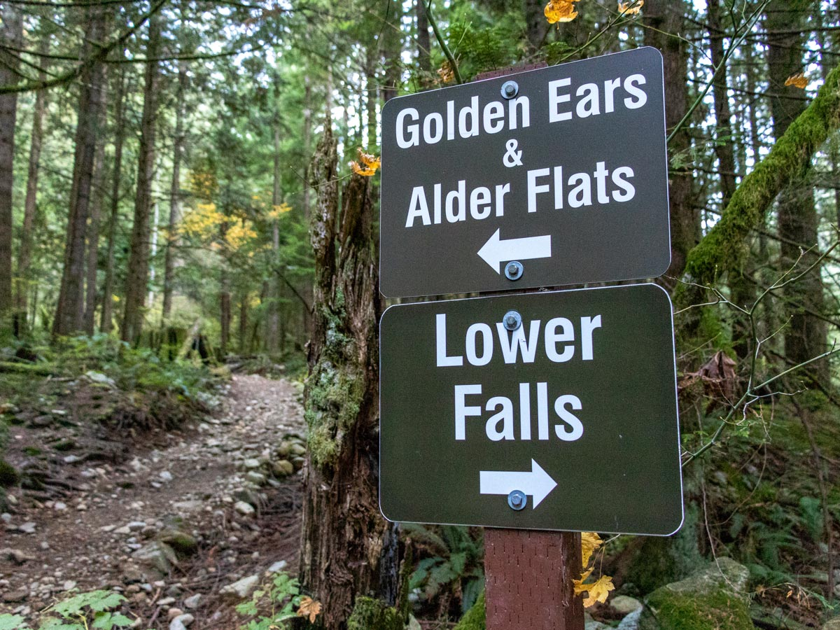 Golden Ears and Alder Flats hiking signposts near Vancouver