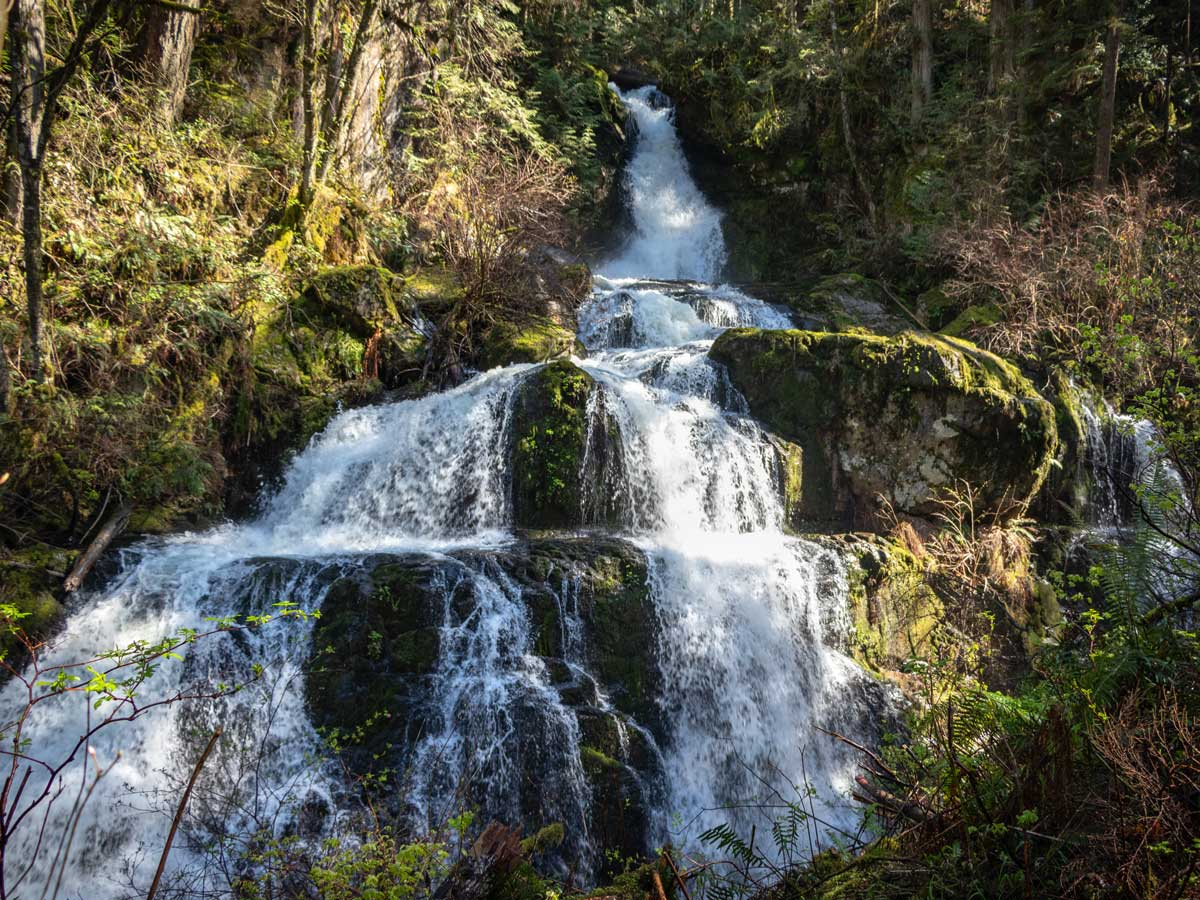 Beautiful natural Steelhead waterfalls along hiking trail east of Vancouver