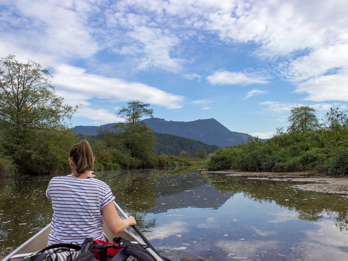 Canoeing to the Widgeon Falls trailhead east of Vancouver BC