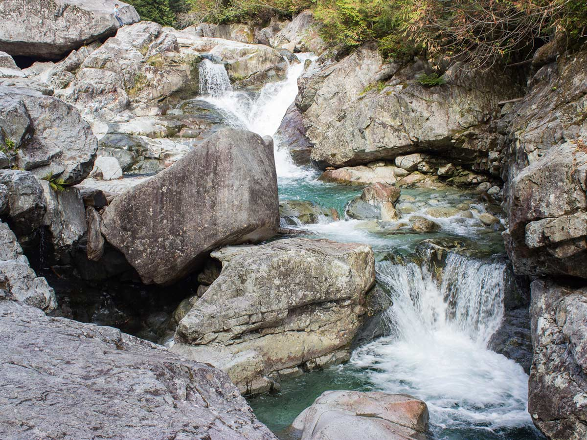 Turquoise waters of Widgeon Falls in the forest east of vancouver in BC