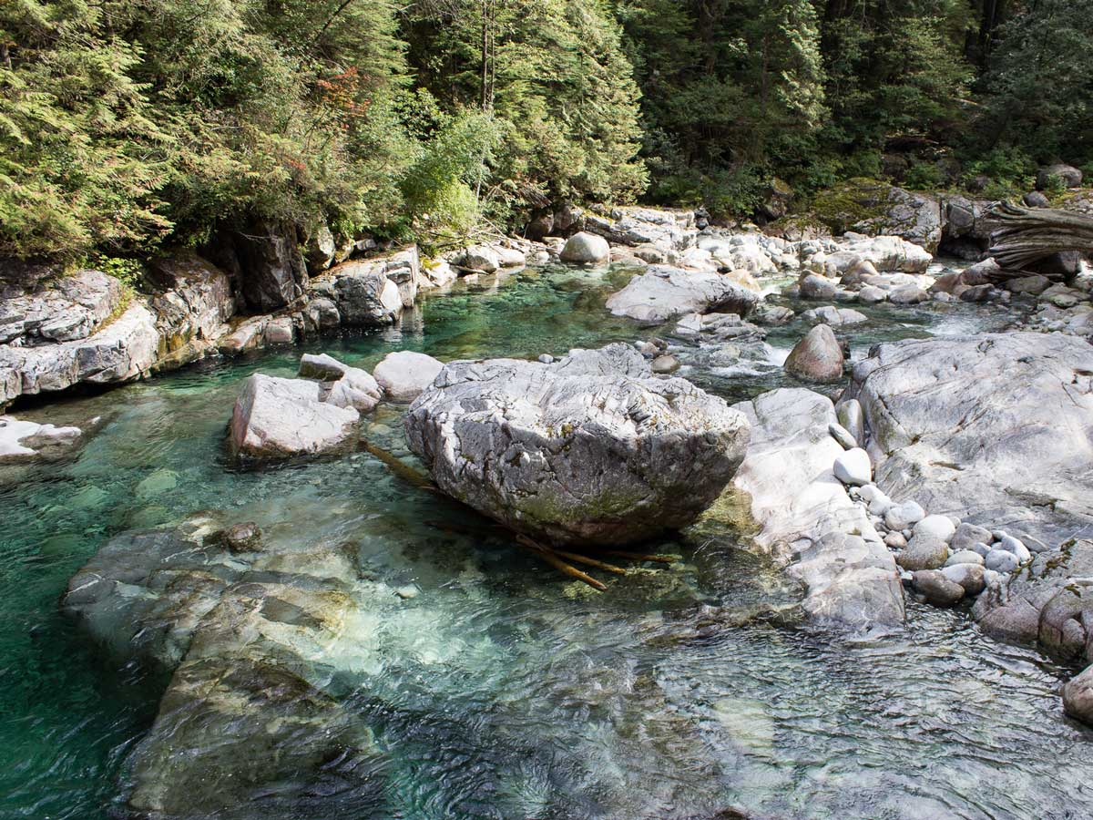 Turquoise water pools around Widgeon Falls hike and waterfalls near Vancouver BC