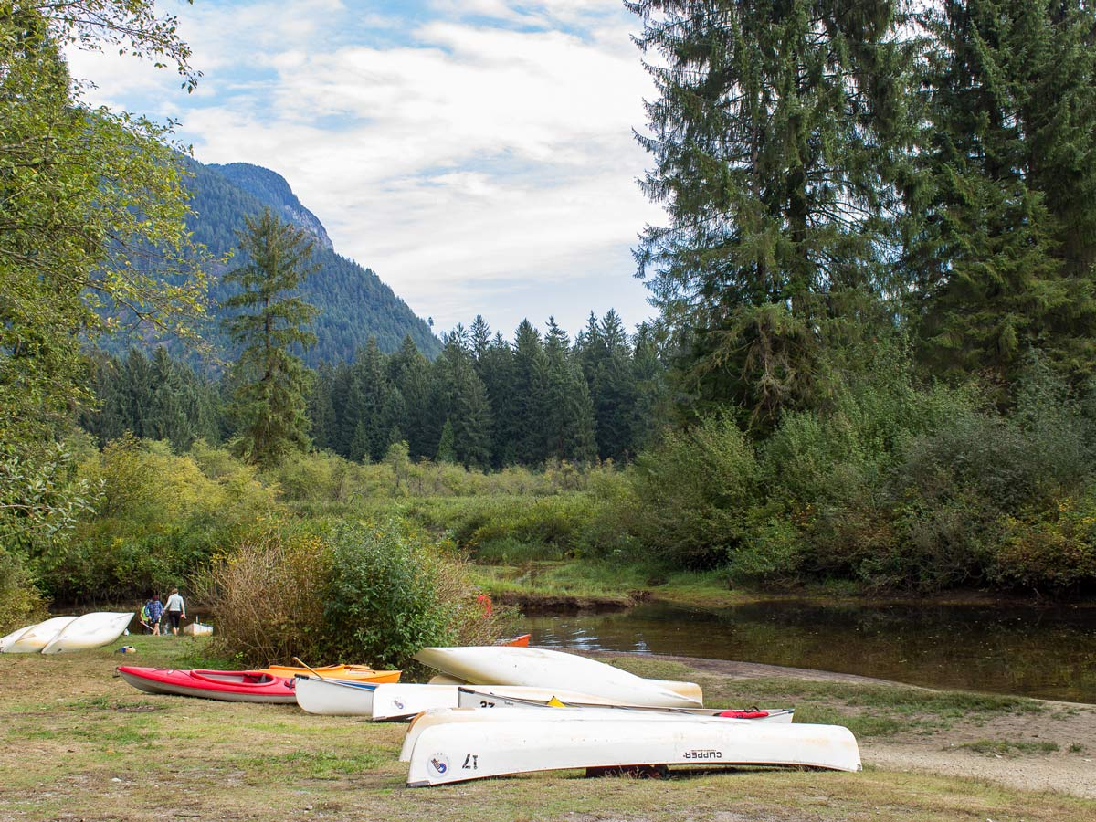 Canoes lined up at the trailhead for Widgeon Falls hiking trail east of vancouver