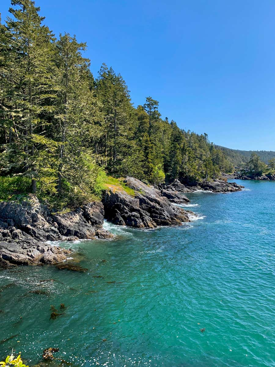 Turquose water and rugged shores at Victoria BC