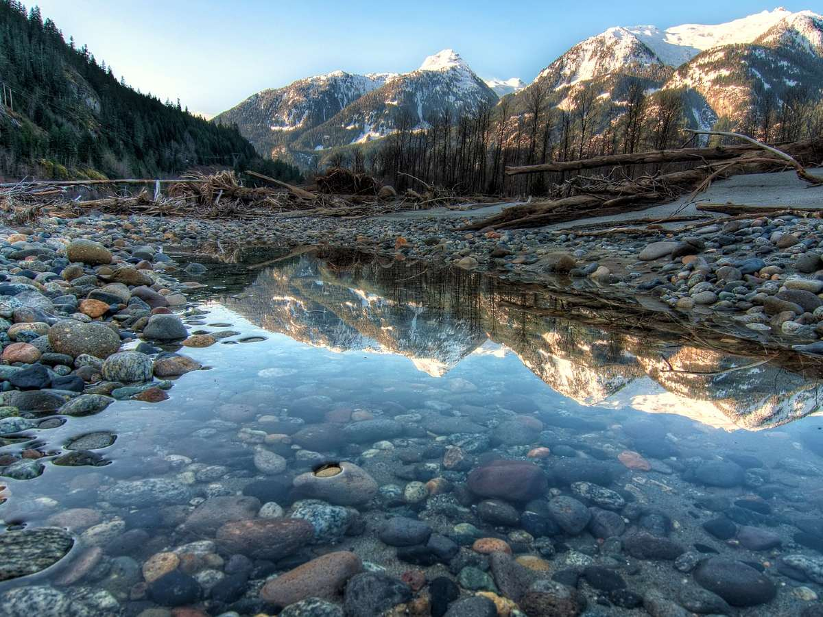 Stunning reflections in the water near Squamish