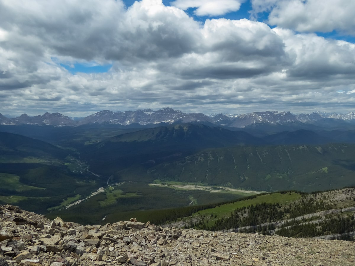 Looking down on Kananaskis country while hiking Mt Burke