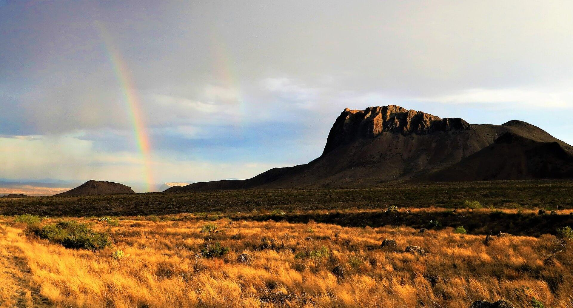 A rainbow falling over the Big Bend National Park