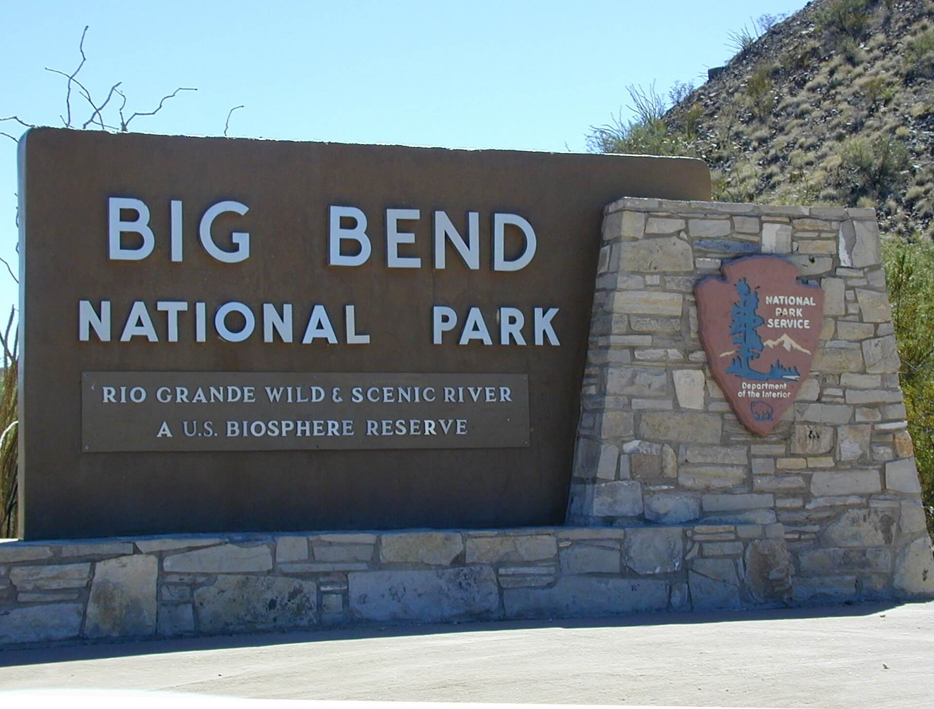 An NPS sign of the Big Bend National Park