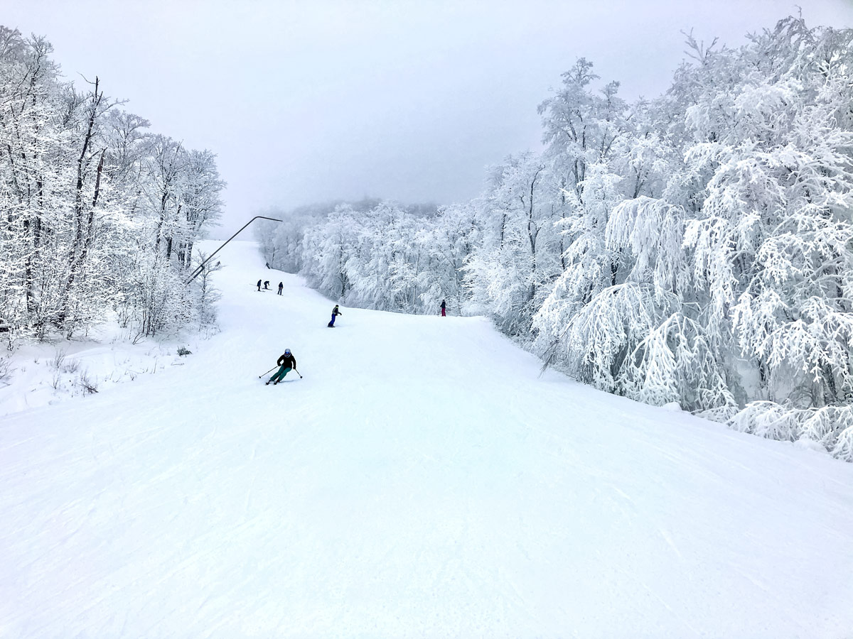 Skiing at mont tremblant winter near Montreal Canada