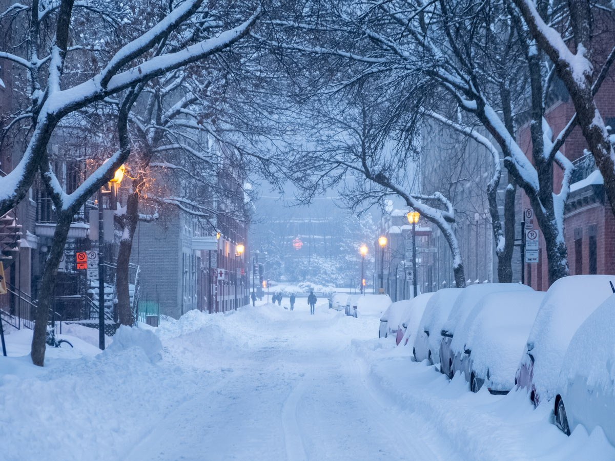 Exploring downtown Montreal in the winter snow Canada