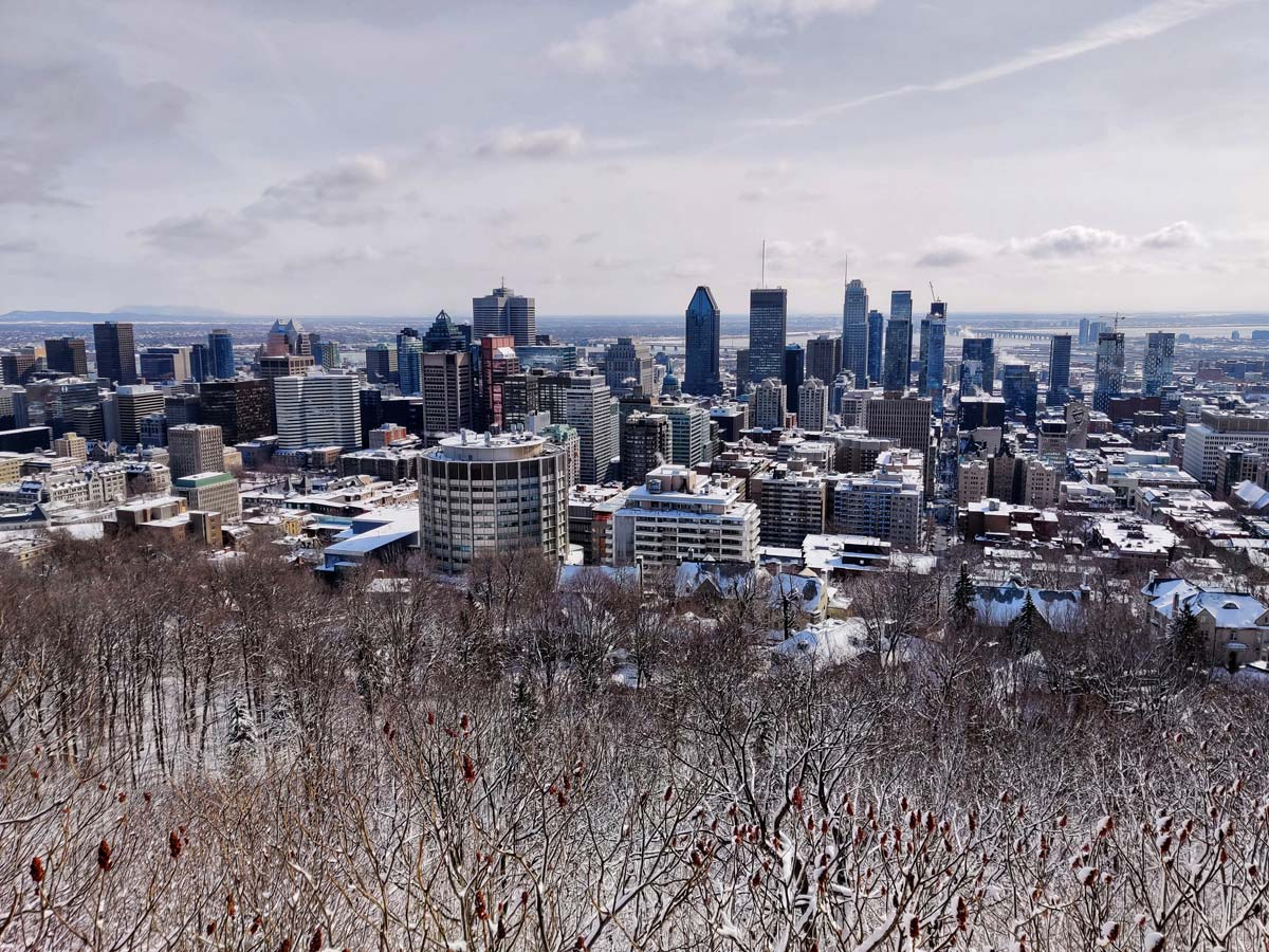 Beautiful views of downtown Montreal in the winter snow Canada