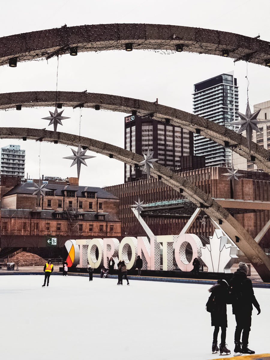 Outdoor ice skaing rink in downtown Toronto in winter