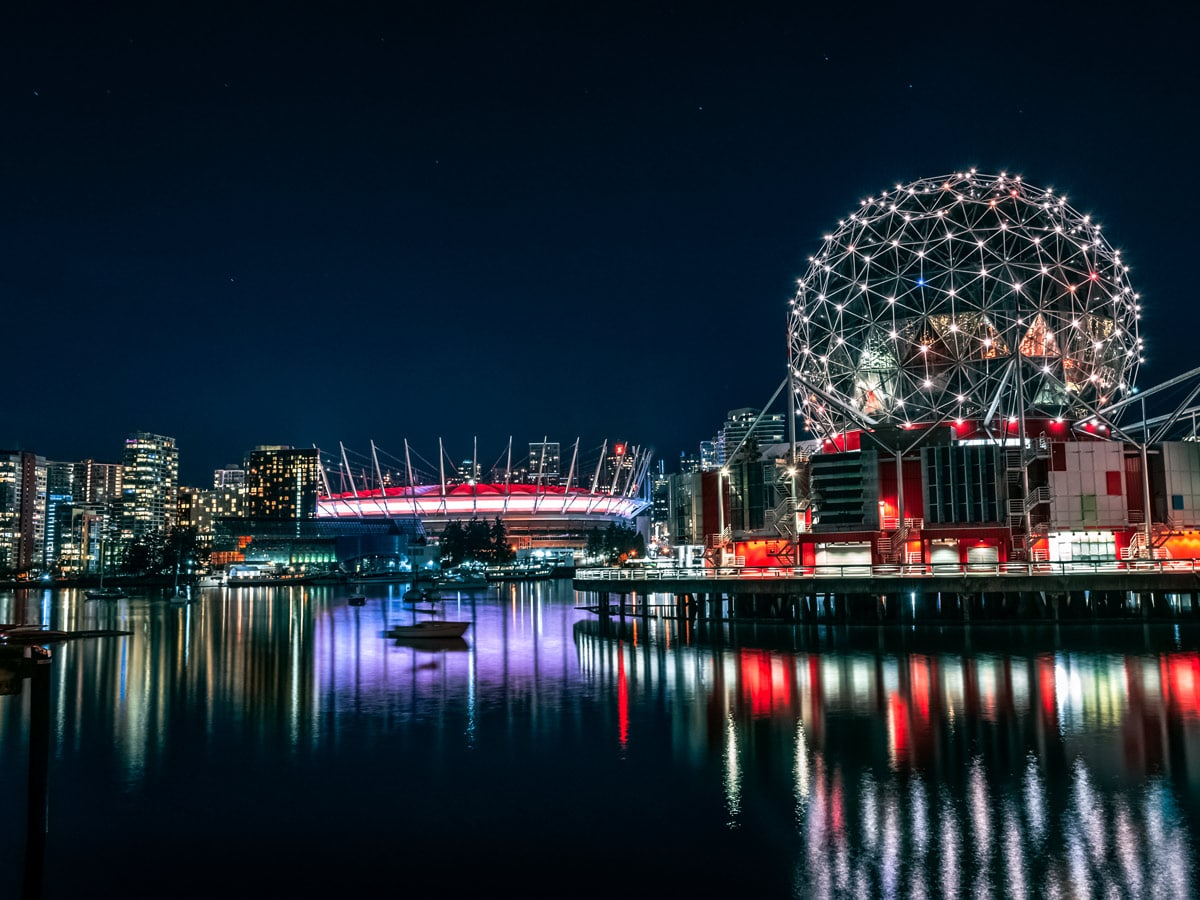 Vancouver city lights Science Center on the Pacific west coast British Columbia Canada