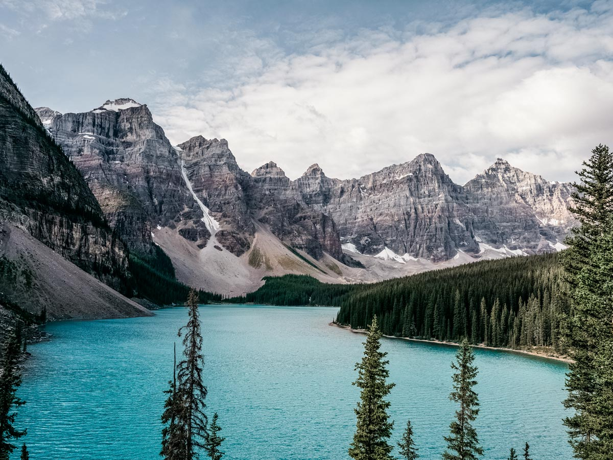 Stunning Moraine Lake hiking in the Rocky Mountains Alberta Canada
