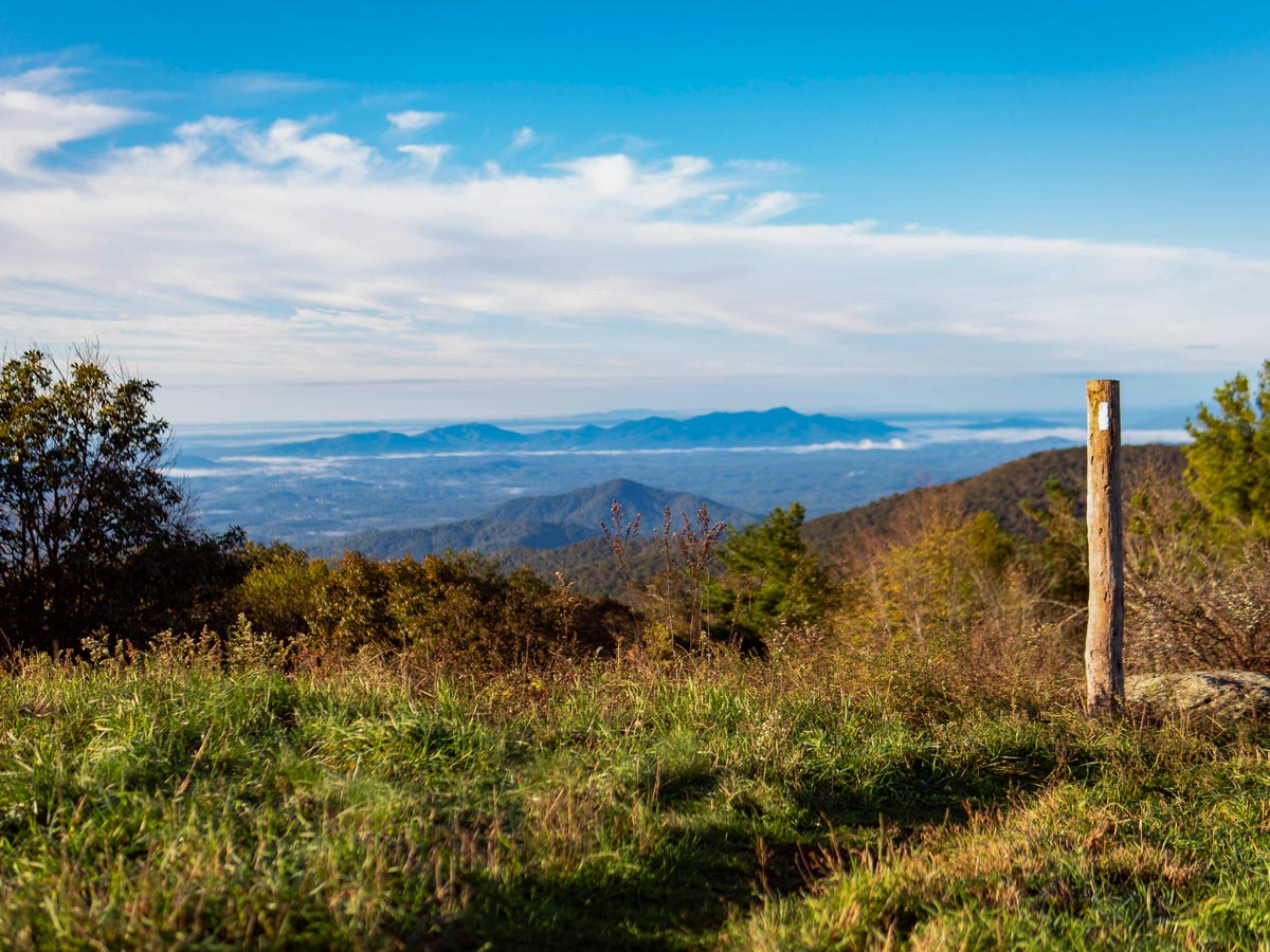 Signpost at top of Cole Mountain Appalachian Trail hiking USA