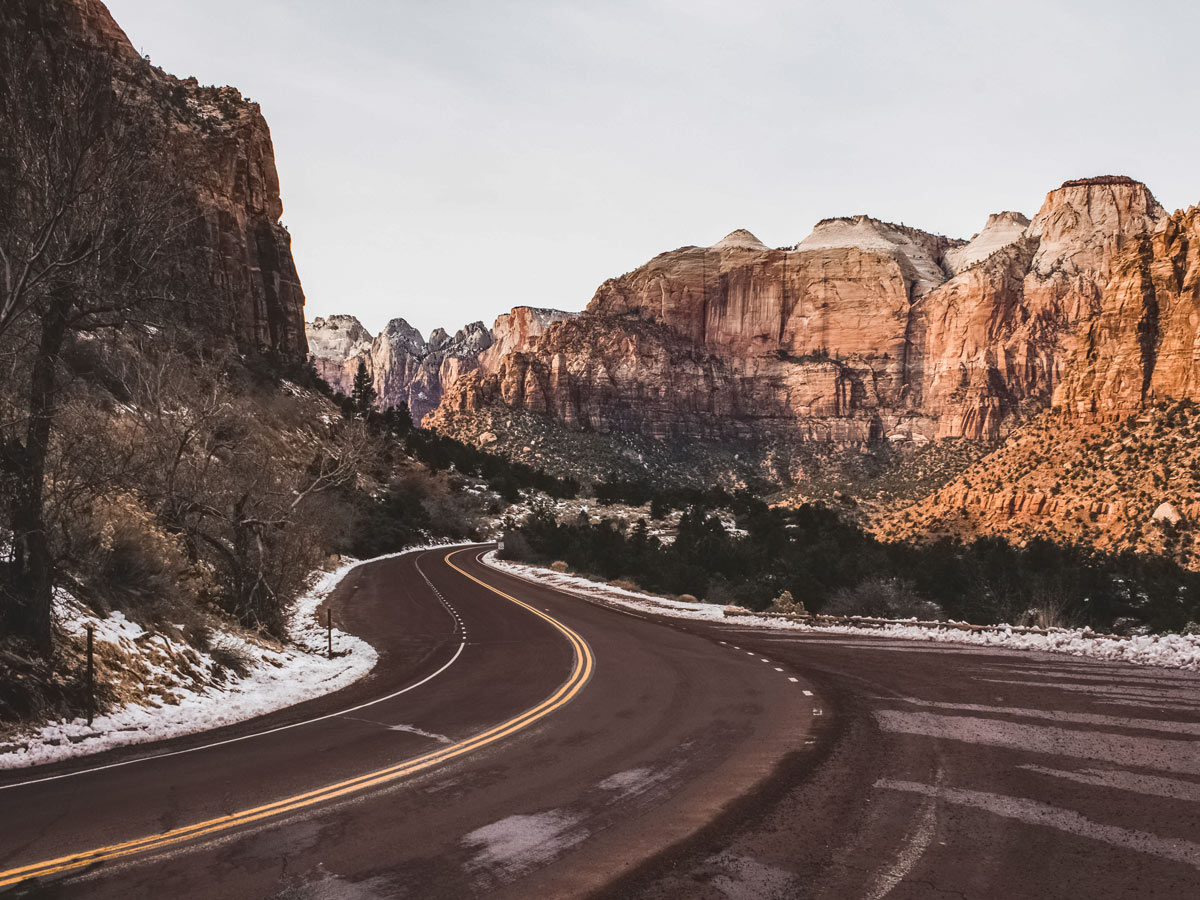 Highway winding through canyon Winter in Zion national park Utah
