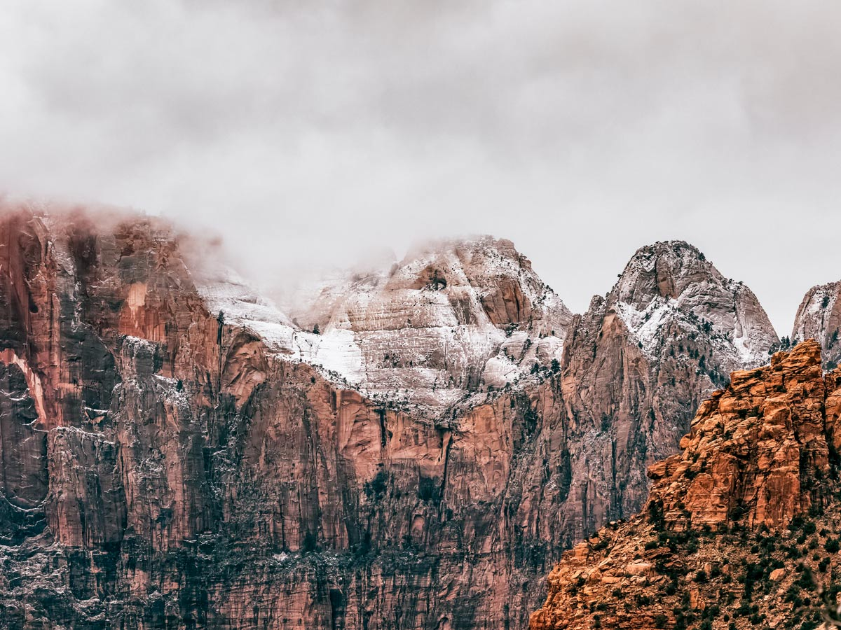 Zion national park rock formations in Utah Winter