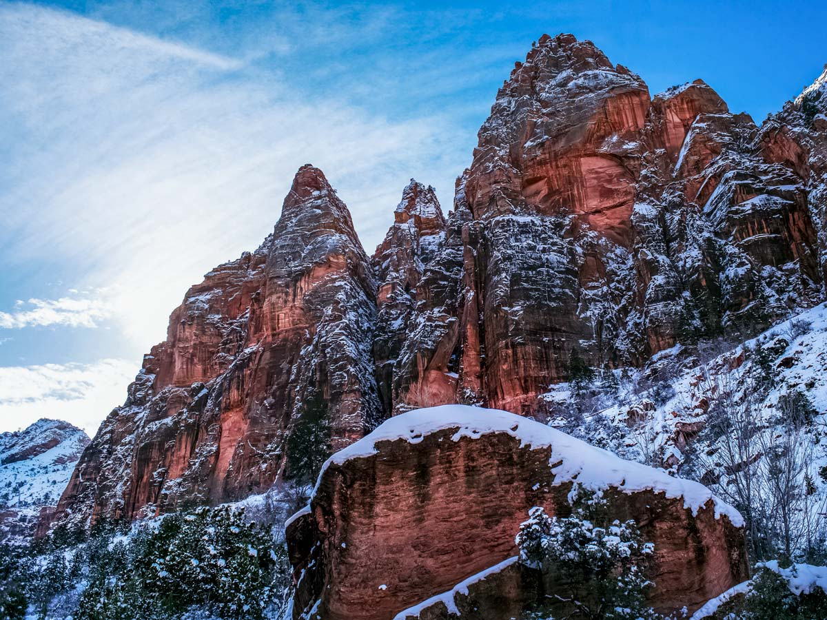 Zion national park mountains in Utah Winter