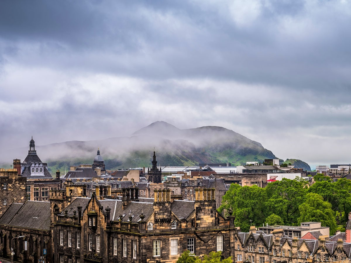 Edinburgh Scotland foggy hills