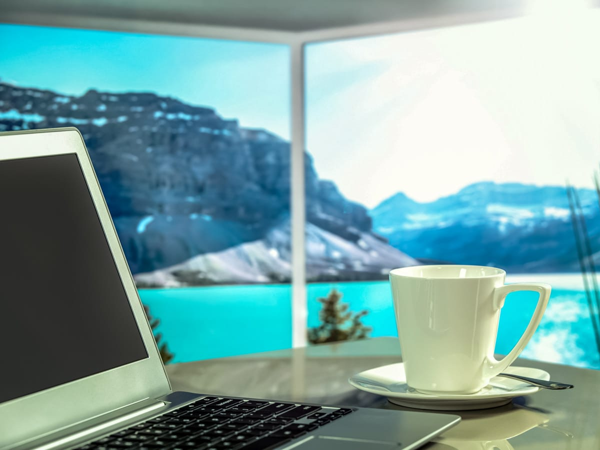 Working holiday workspace with beautiful view