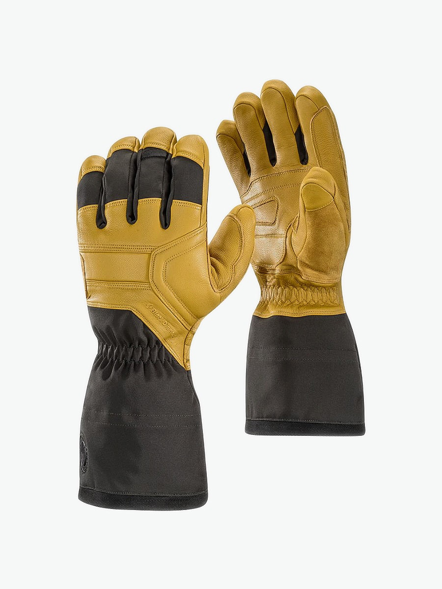 Tan and black leather BlackDiamond brand Guide Gloves