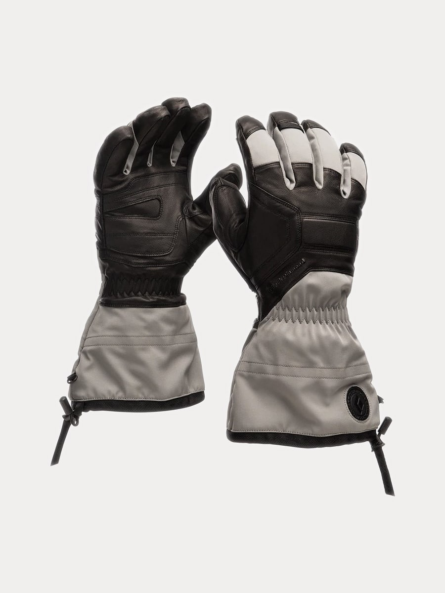 White grey and black leather BlackDiamond brand Guide Gloves