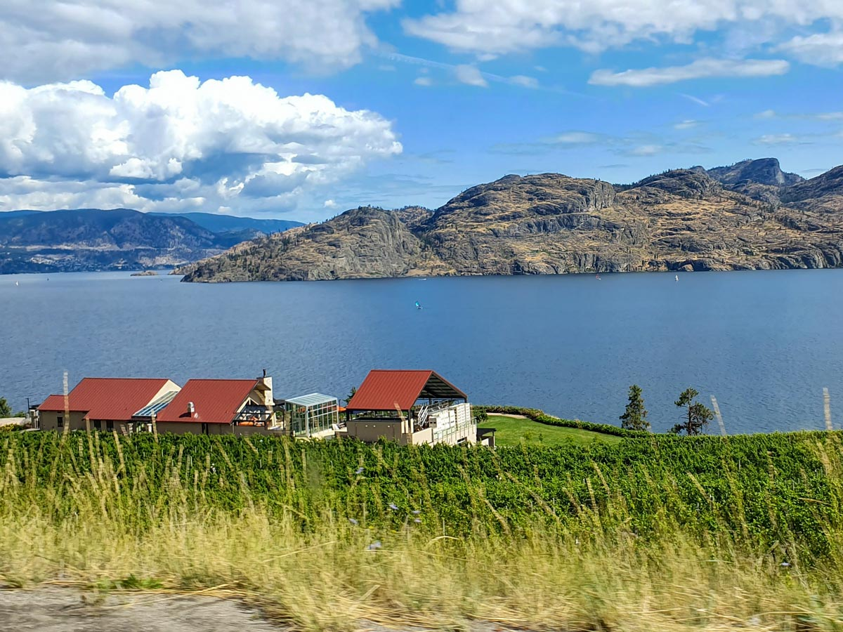 Penticton town on Okanogan Lake near Kelowna British Columbia Canada