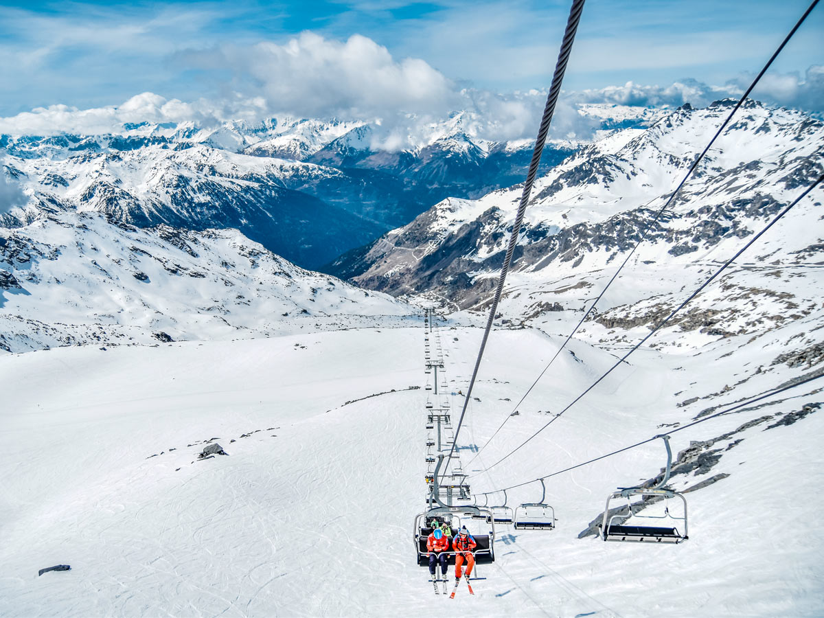 Ski hill chairlift views skiing in France