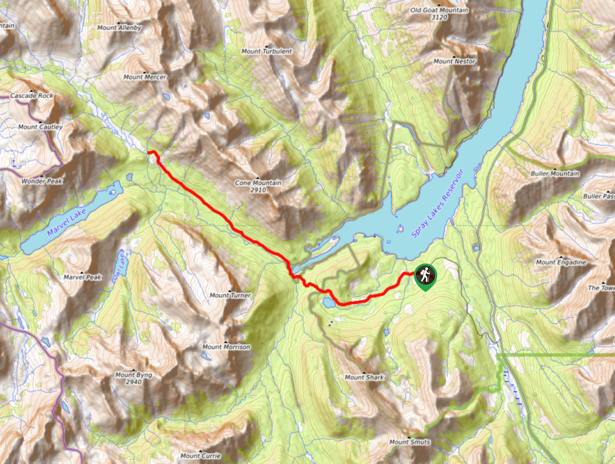 Bryant Creek Shelter Backpacking Map
