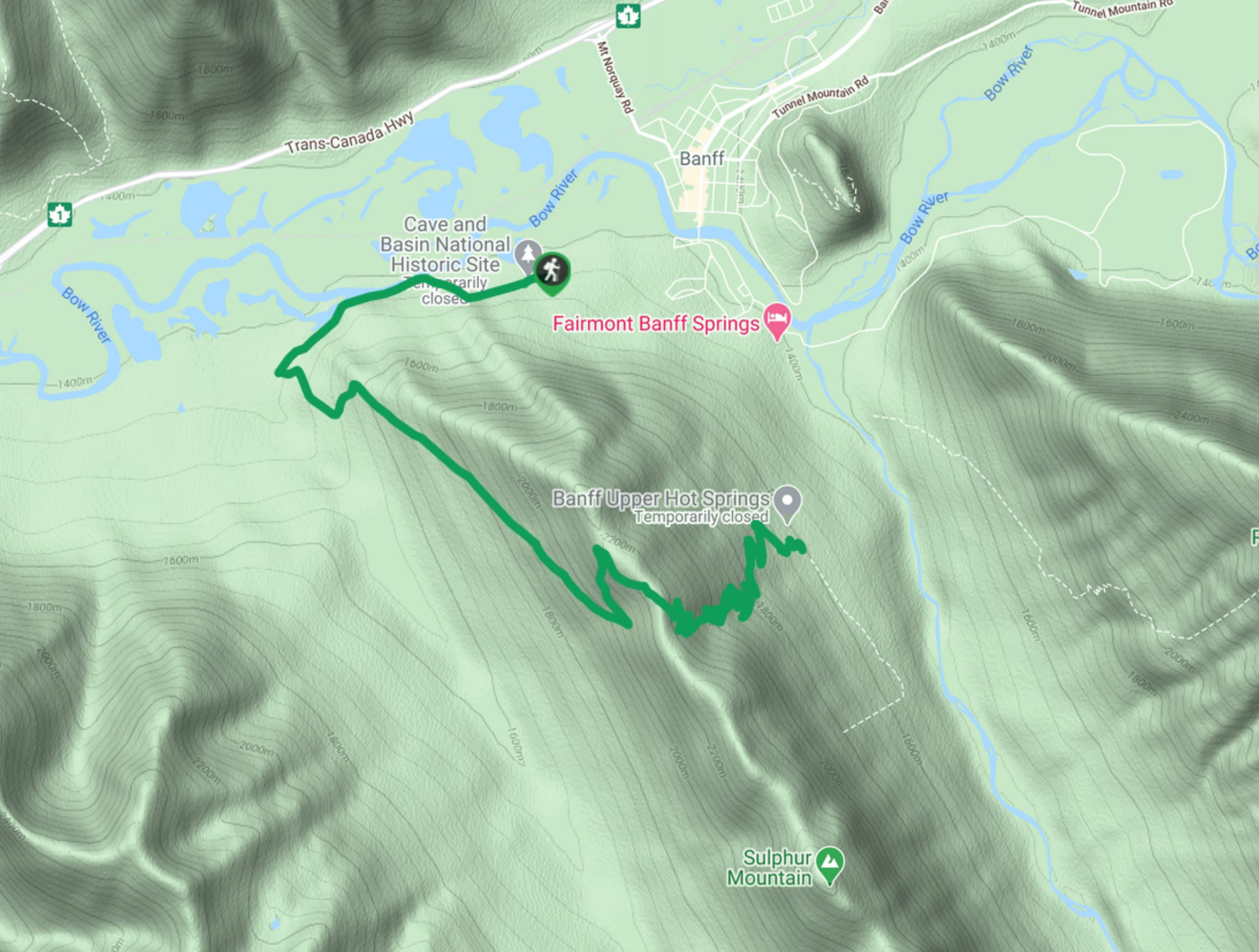 Sulphur Mountain Snowshoe Map