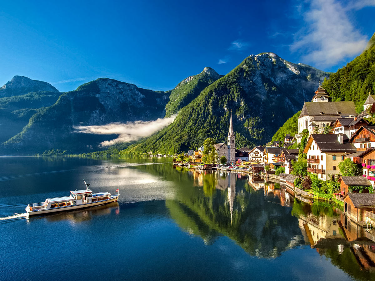 Lake on the shore of Hallstatt 16th century city in the mountains of Austria