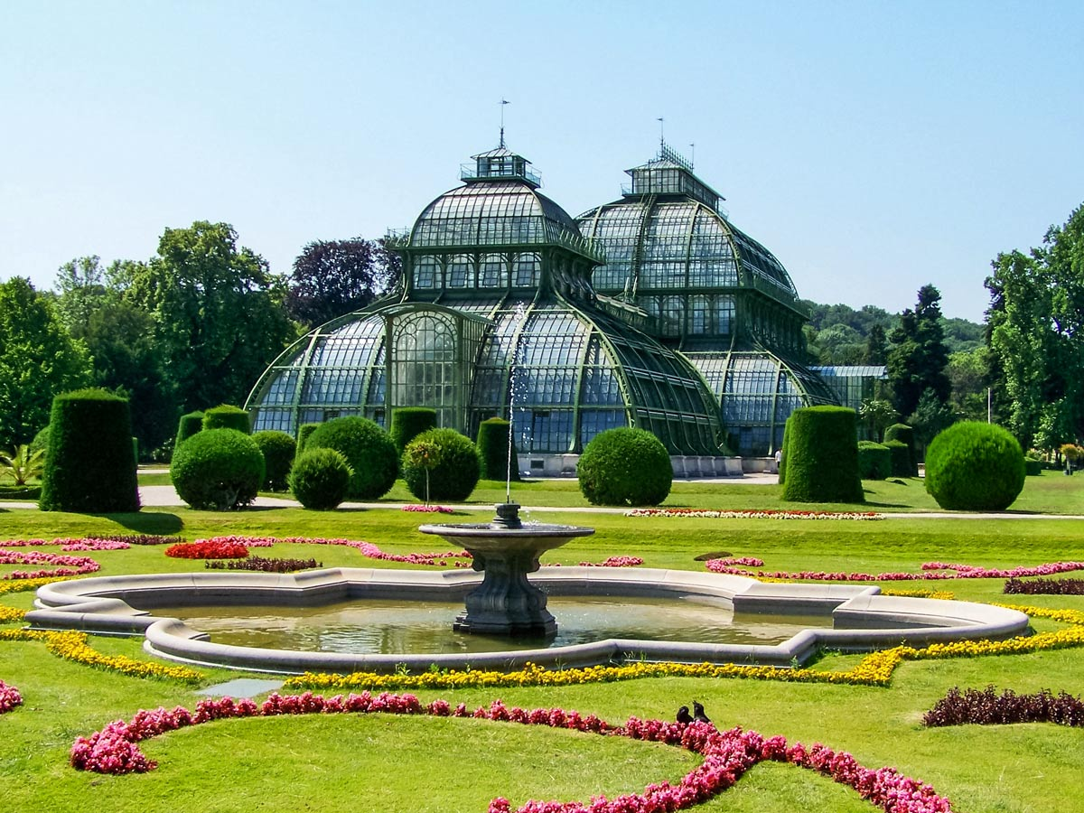 Palm House in the gardens of Schonbrunn palace Vienna