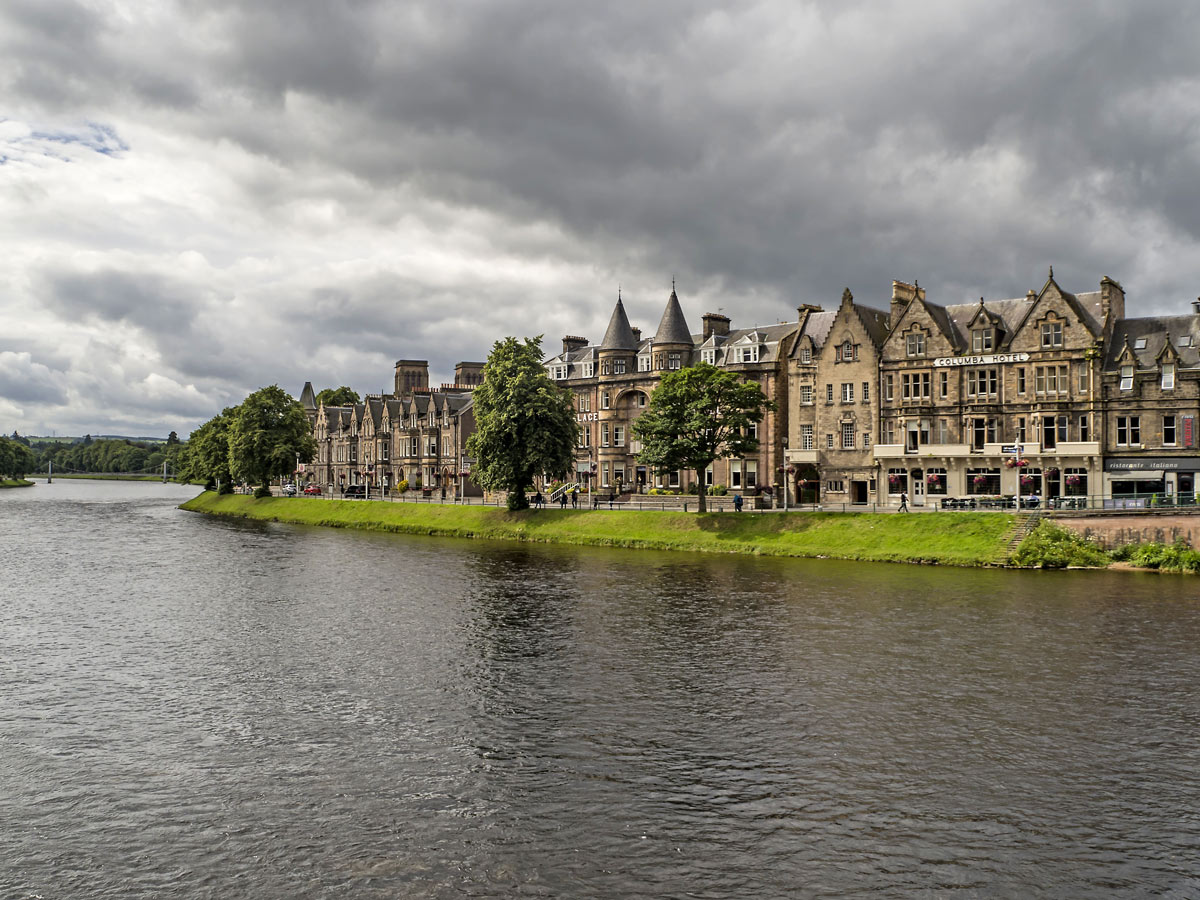 Inverness traditional stone houses on the river in Scotland