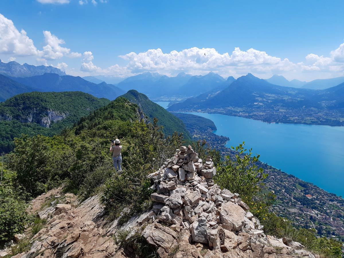 South lake annecy view hiking from Mont Veyrier to Mont Baron in France