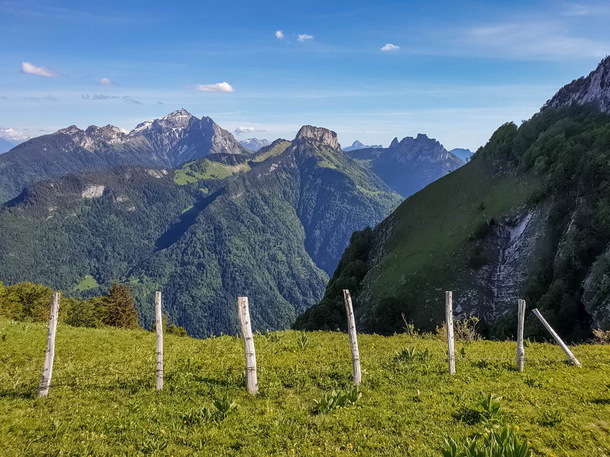 View from crossroad detour 3 tetes Plateau des Gileres hiking France
