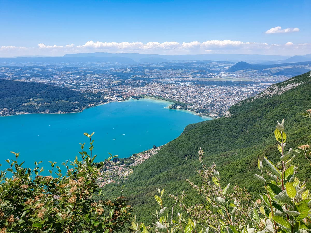 Annecy city lake view hiking from Mont Veyrier to Mont Baron in France