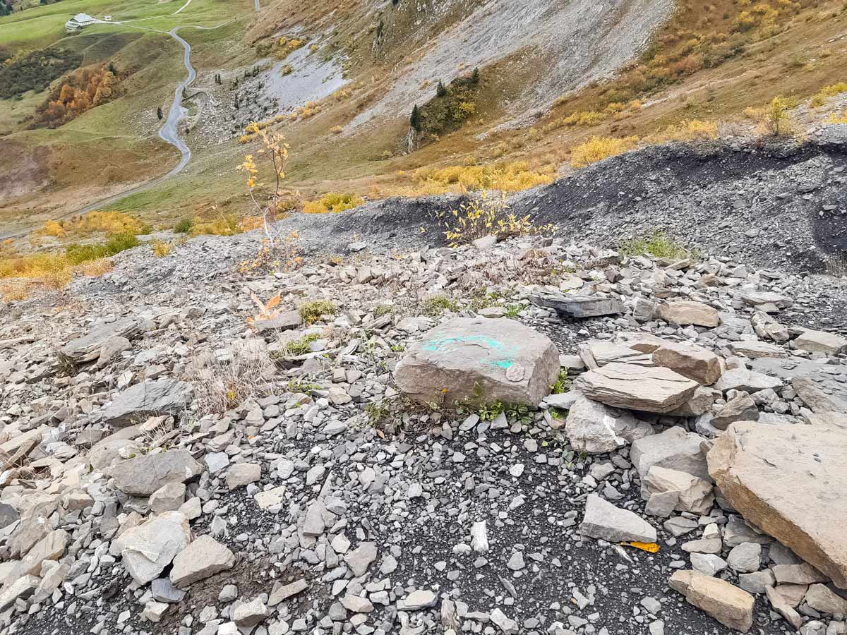 Makeshift route with arrows Col Des Aravis hiking trails in France