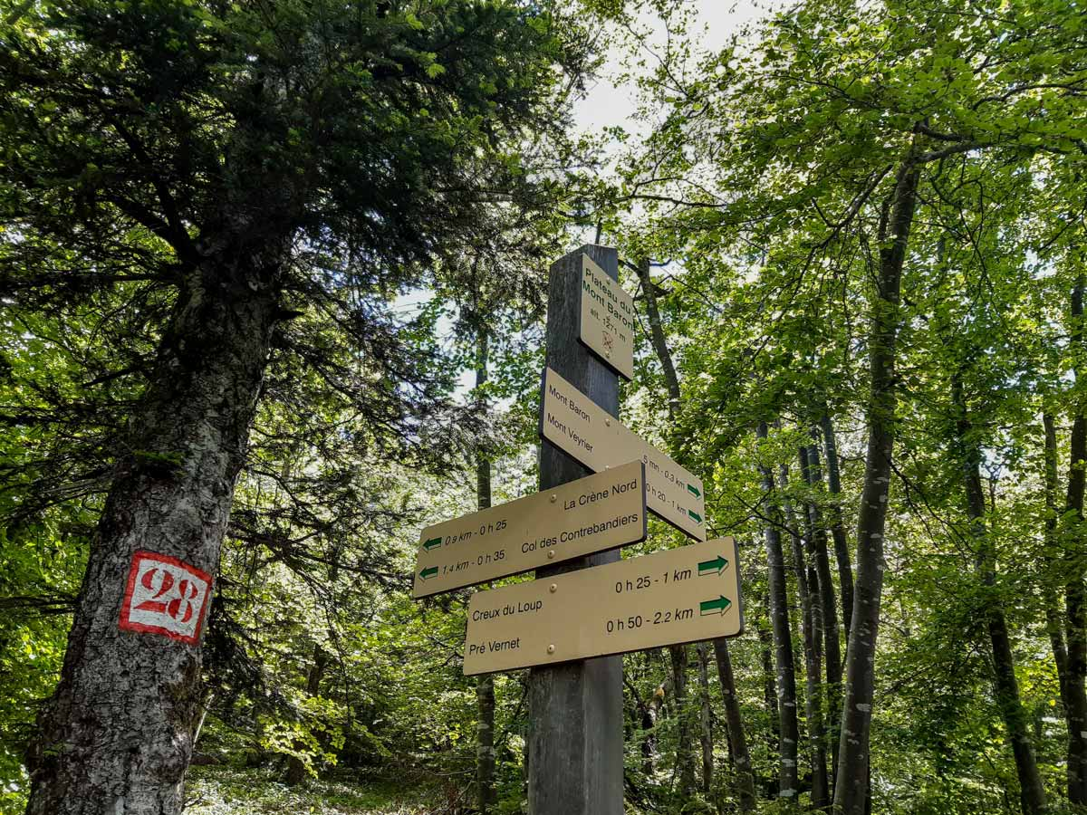 Signpost seen hiking from Mont Veyrier to Mont Baron in France