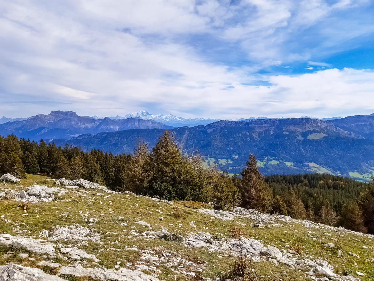 View from mountains lookout point along Semnoz hiking trail in France
