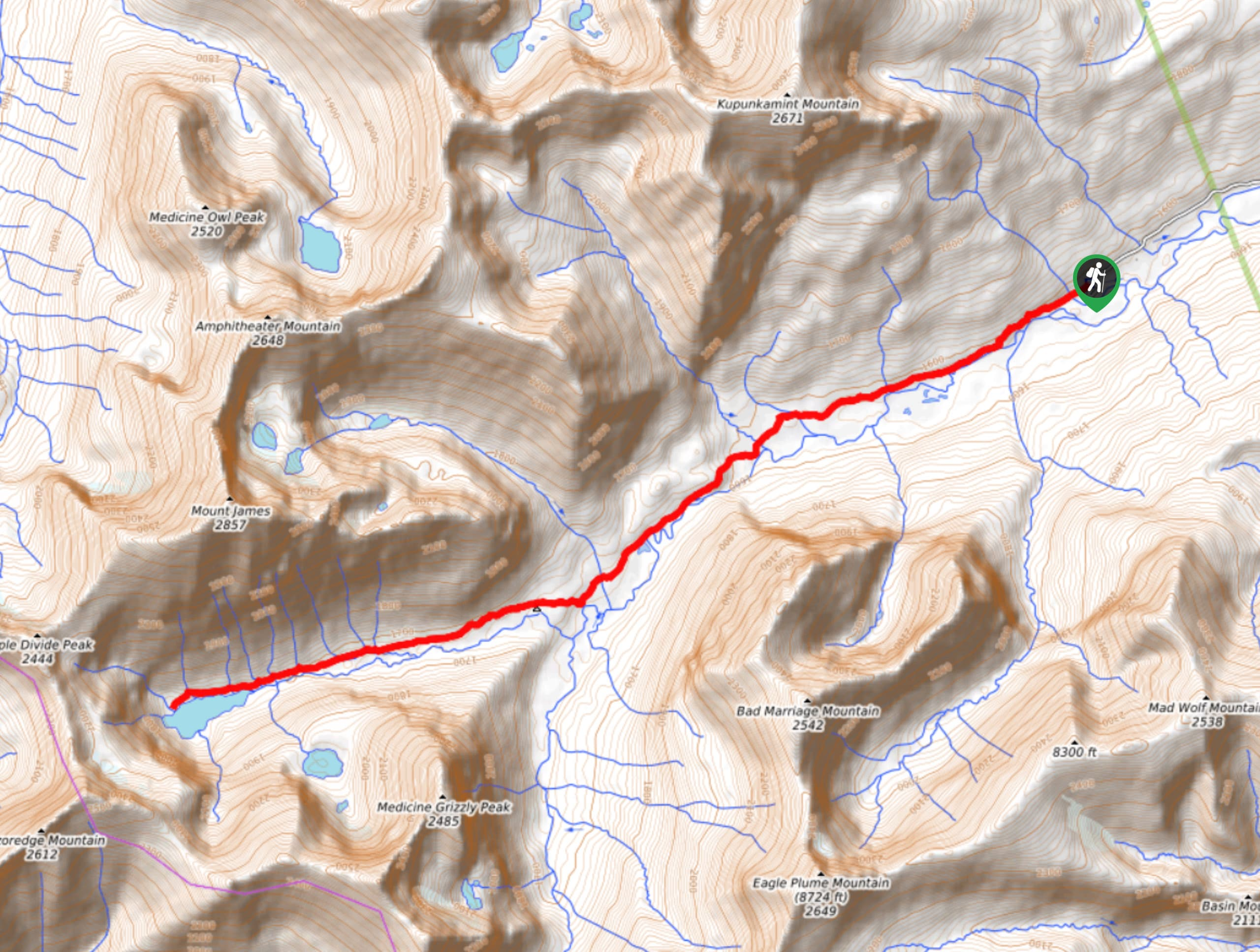 Medicine Grizzly Lake Trail Map