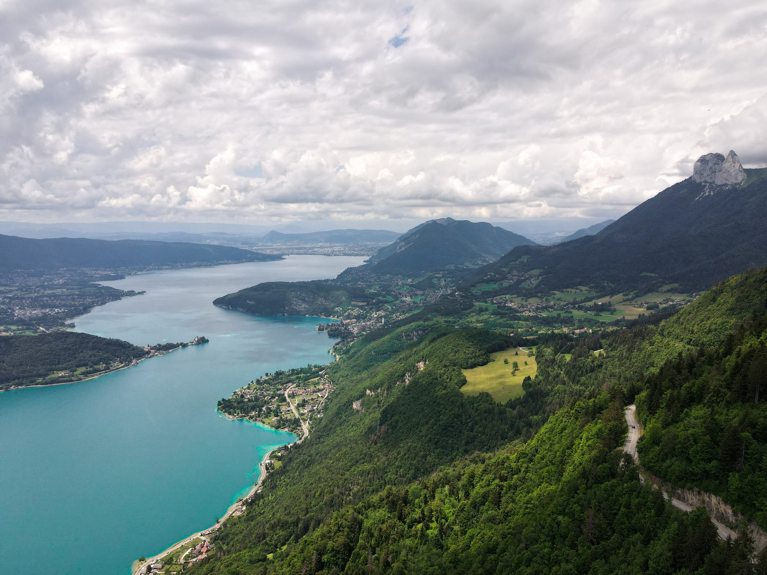 Looking at Annecy Lake from the above