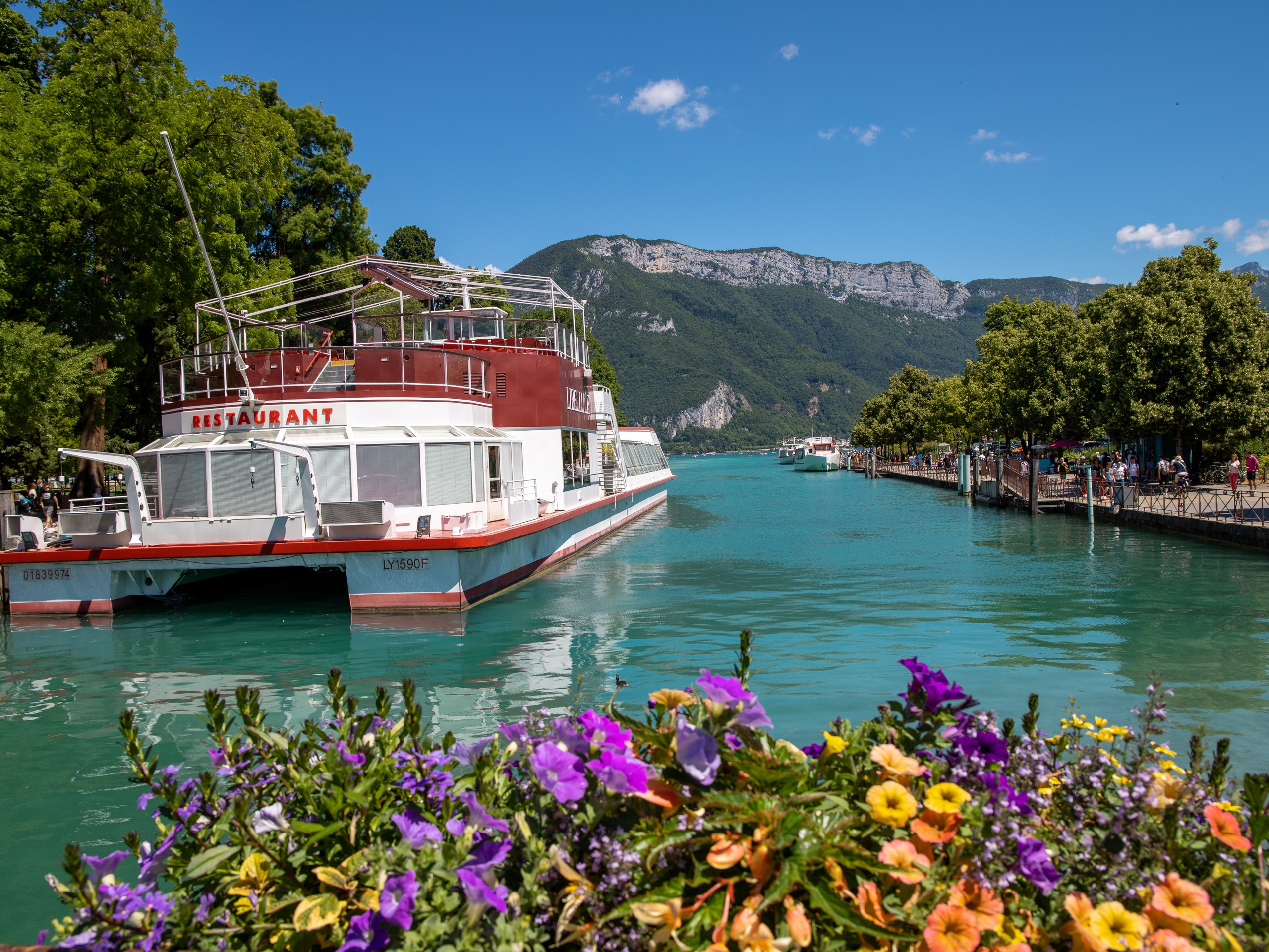 Boat on the Annecy Lake in France