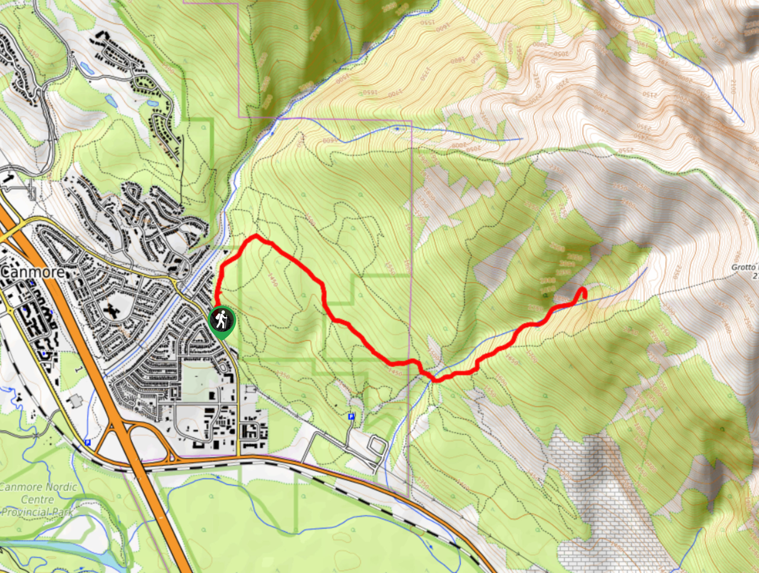 Echo Canyon near Canmore Trail Map
