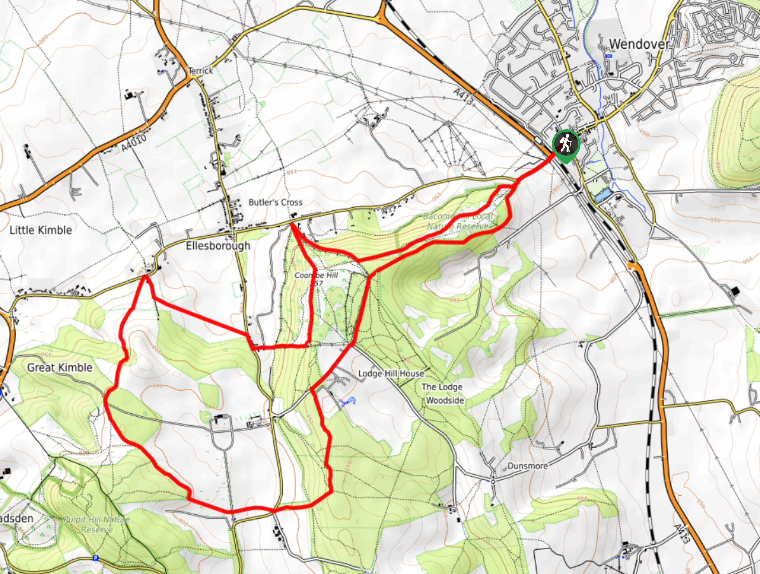 Coombe Hill and Chequers Court Circular Walk Map