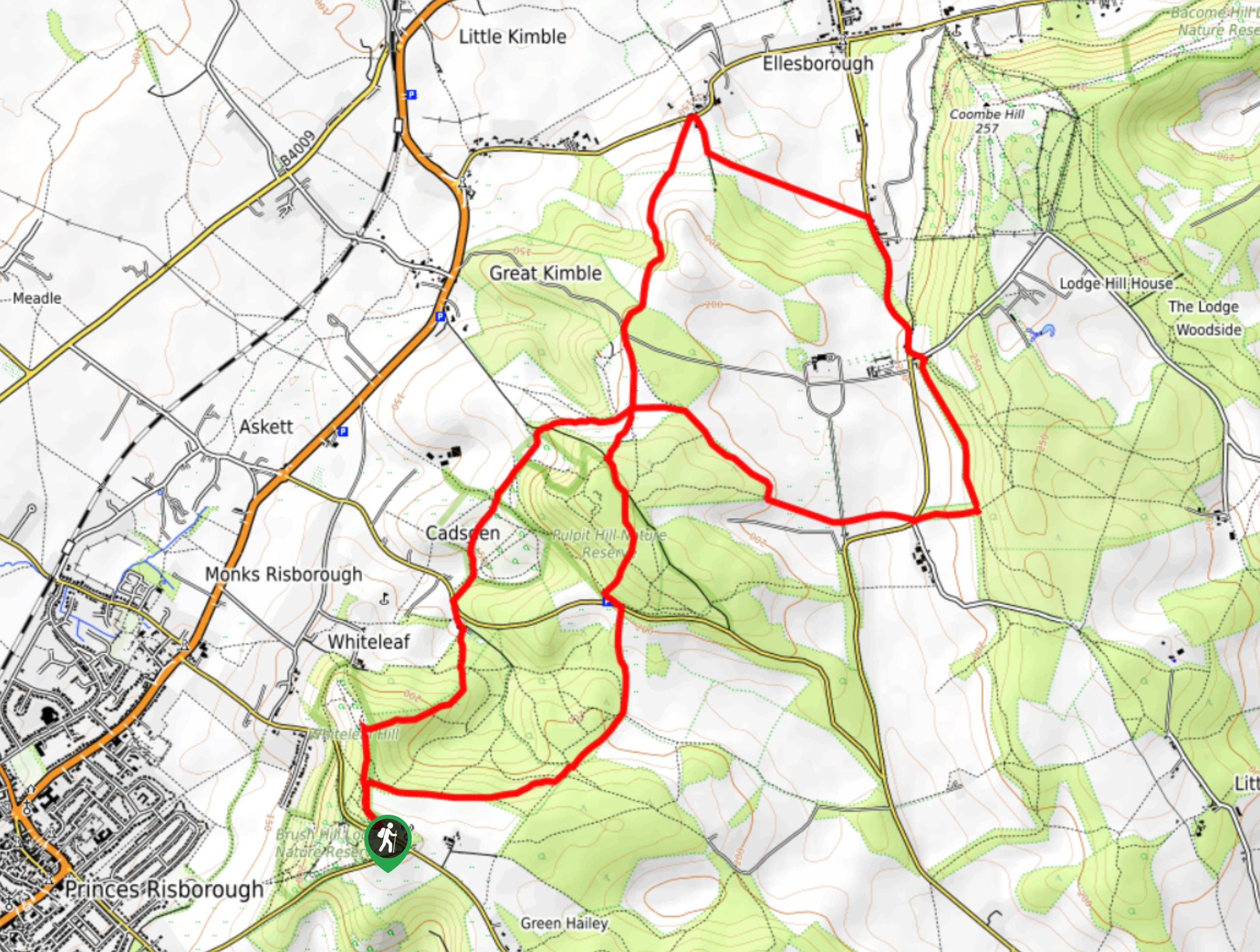 Whiteleaf to Chequers Walk Map