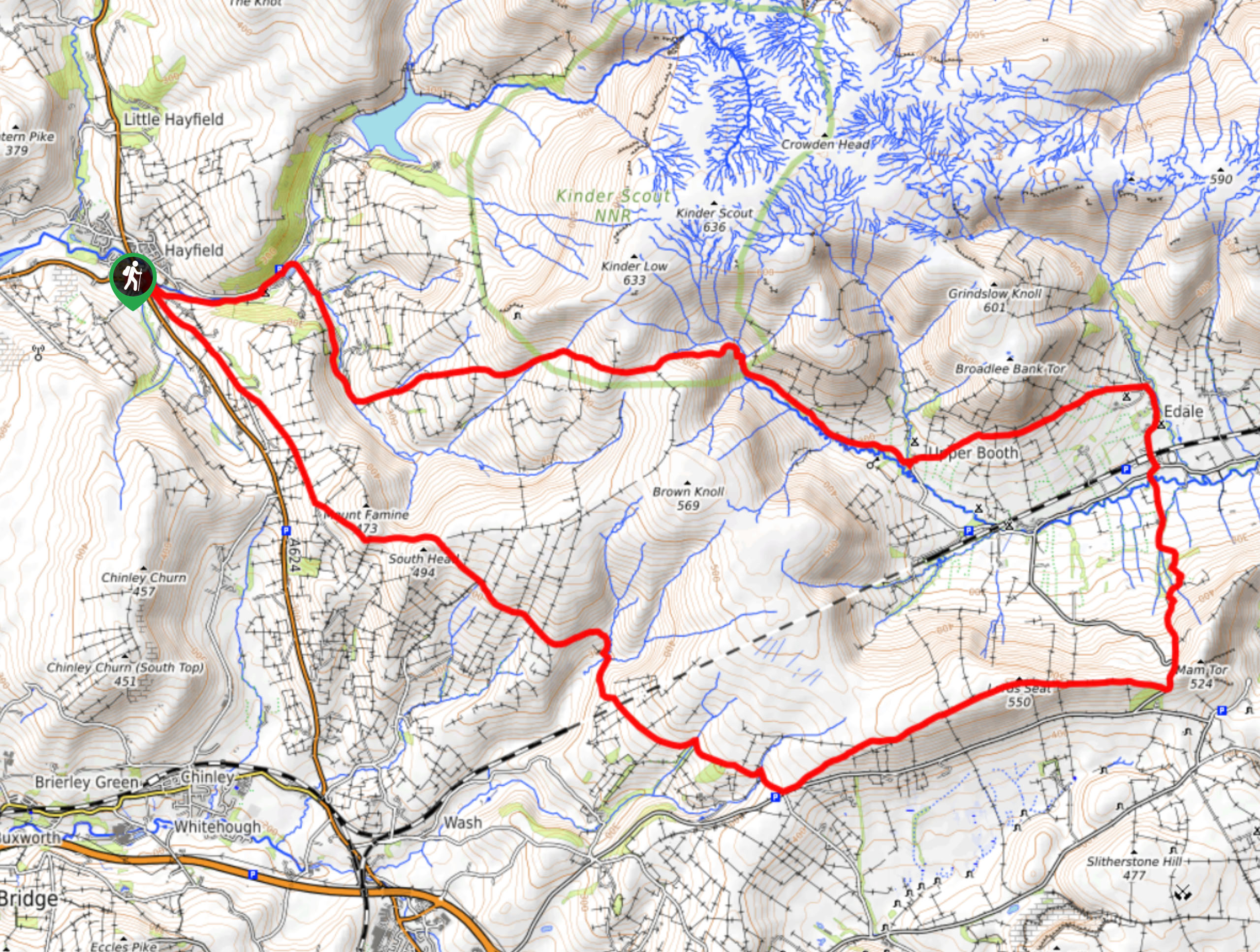 Hayfield to Edale Circular Map