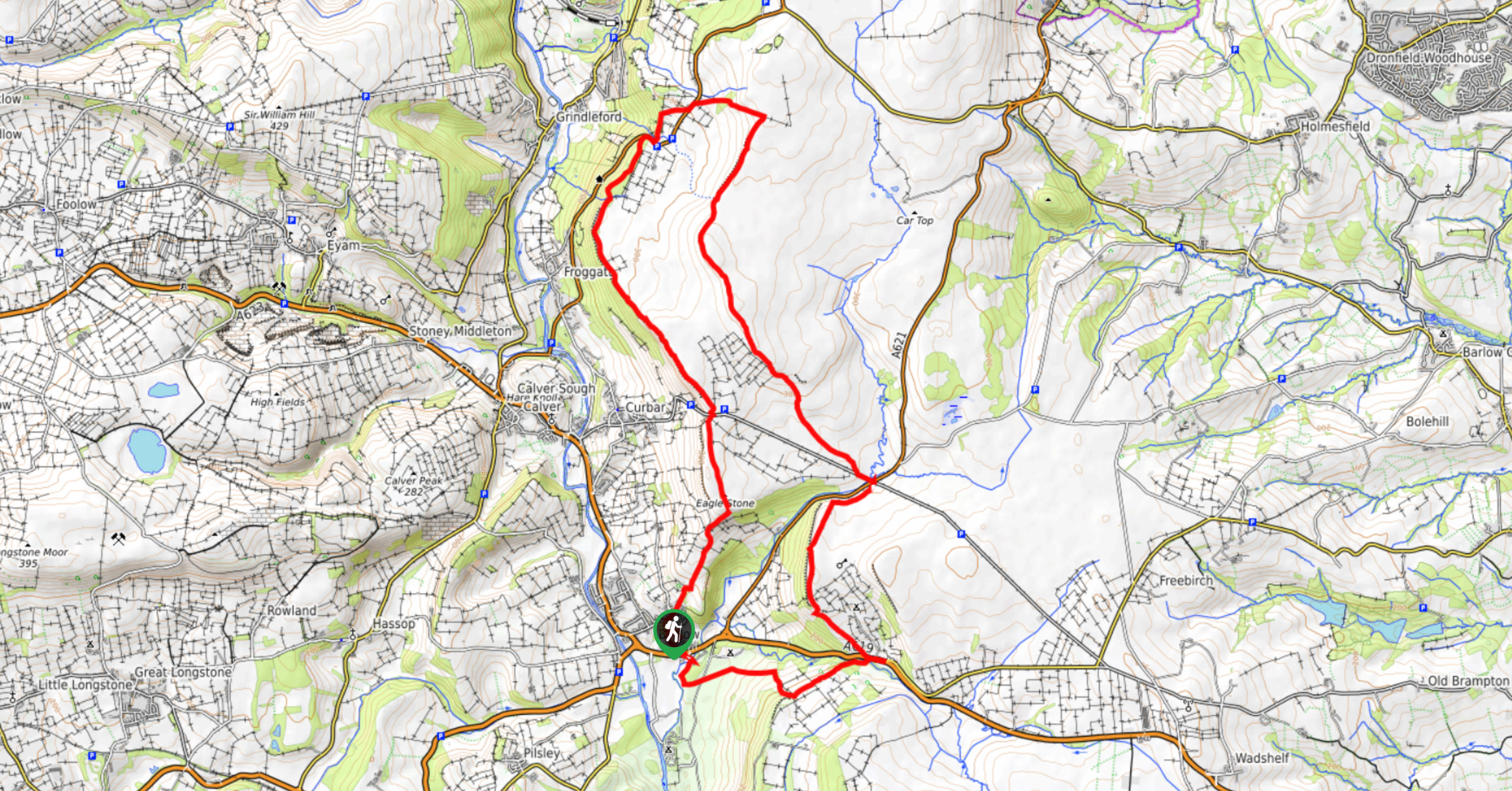 Southern Gritstone Edges Walk-Map