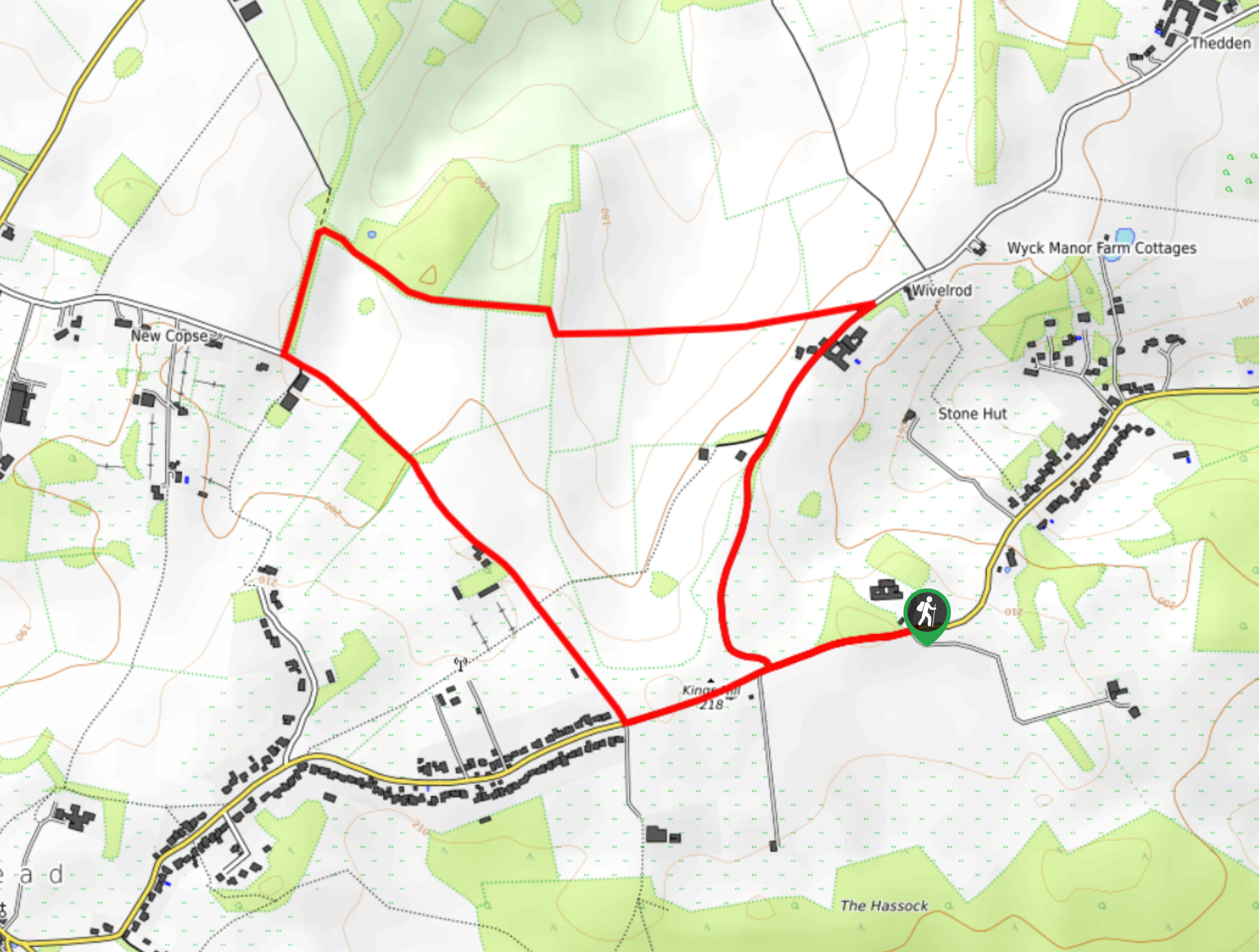 Alton Abbey to New Copse to Wivelrod Circular Walk Map