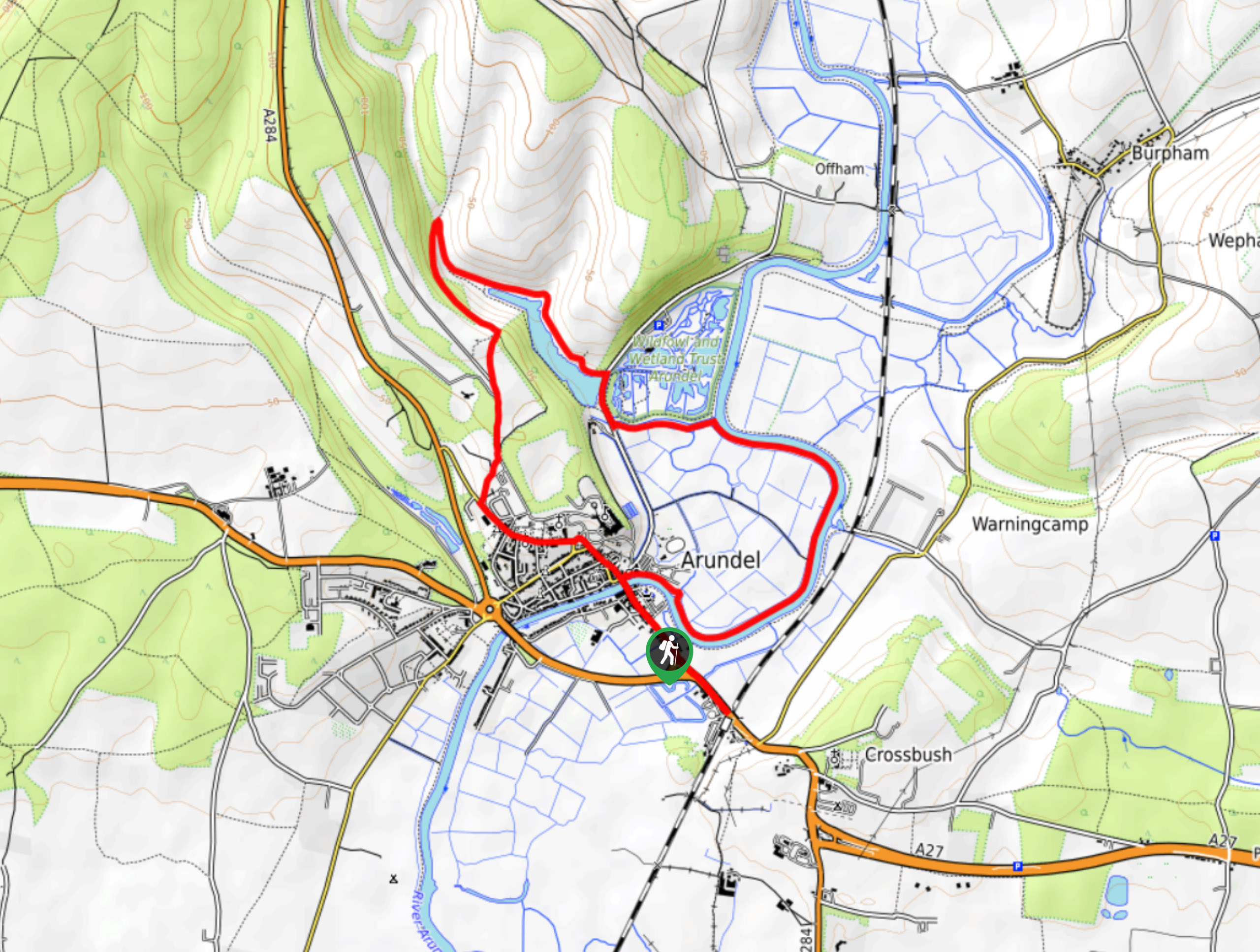 Arundel Castle and Wildfowl Reserve Circular Walk Map