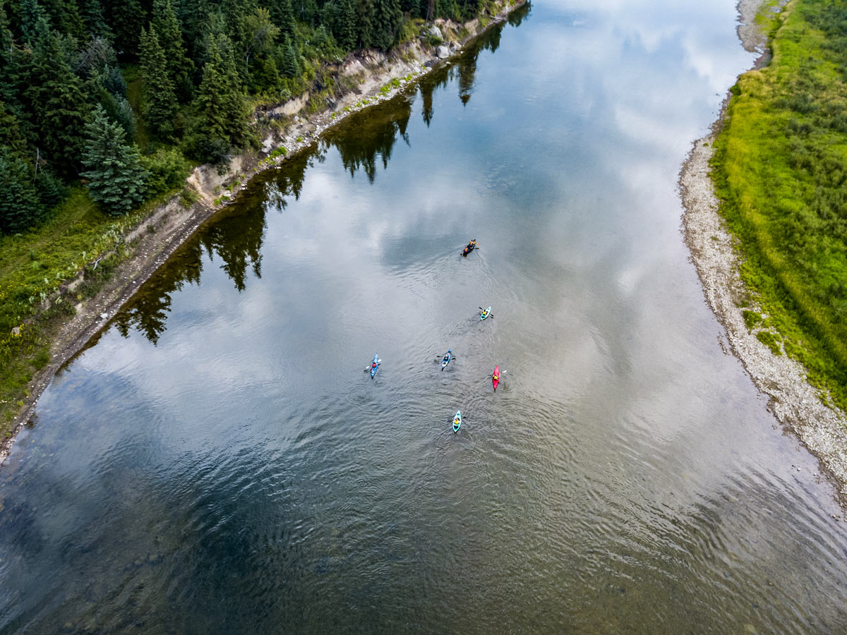 Aerial view of Kayakers on Red Deer River near Sundre