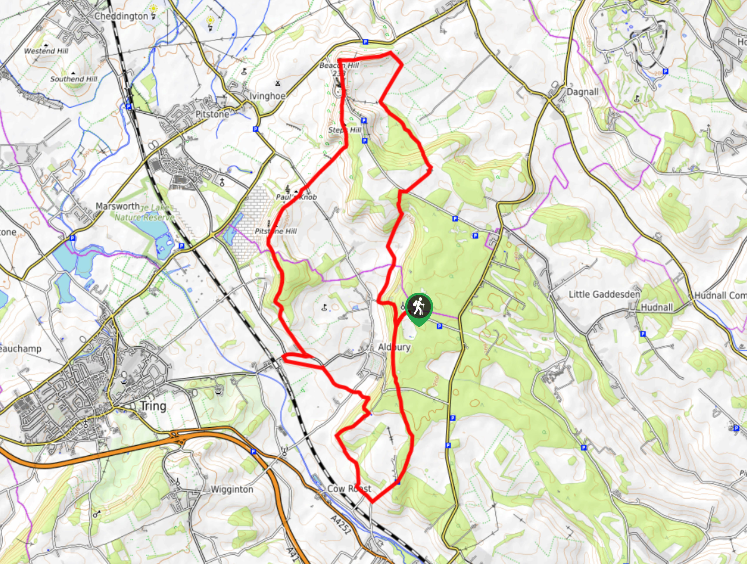 Clipper Down, Steps Hill, and Pittone Hill Loop Map